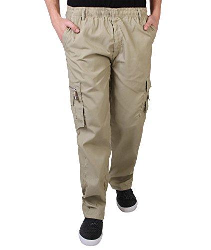 KRISP Männer Praktische Cargohose Gummizug Seitliche Taschen (Beige, Gr.L) (7918-STN-L)
