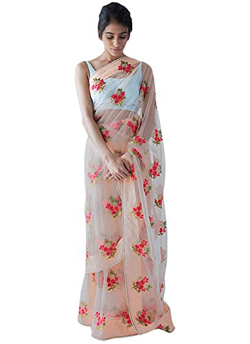 Adorn Fashion Women\'s Nylon Mono Net Saree (Afpsn-68_Cream)