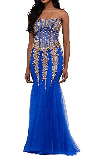 Victory Bridal Damen Langes Abendkleid Festliches kleid Strass Ballkleider Weiss Damen Kleider Abiballkleid Meerjungfra Royal Blau/Gold