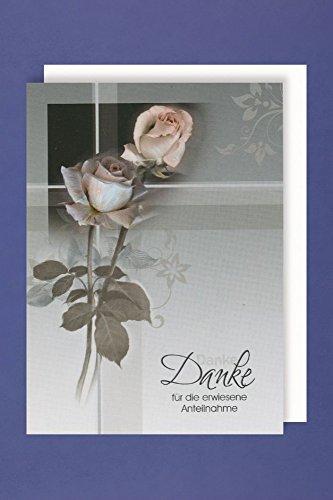 Trauer Danksagungen 5er Packung 5 Doppelkarten mit Umschlägen Herzlichen Dank .. Mitgefühl