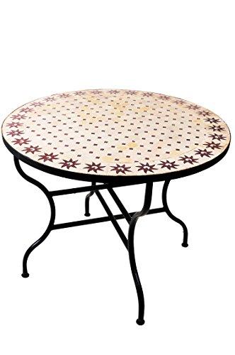 ORIGINAL Marokkanischer Mosaiktisch Gartentisch ø 100cm Groß rund klappbar | Runder klappbarer...