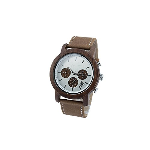 Holzkern Herren Analog Quarz Smart Watch Armbanduhr mit Leder Armband 0010