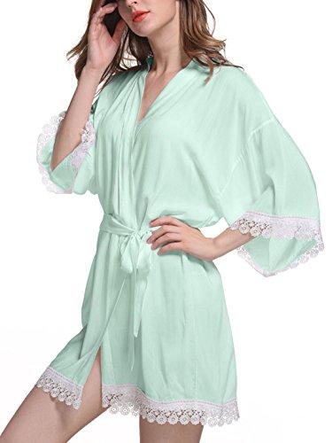 Feoya - Femme Robe de Chambre avec Dentelle Manches 3/4 - Chemise de Nuit Femme Courte - 9 Couleurs Couleur 2