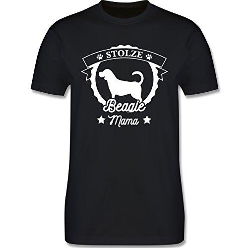 Shirtracer Hunde - Stolze Beagle Mama - Herren T-Shirt Rundhals Schwarz