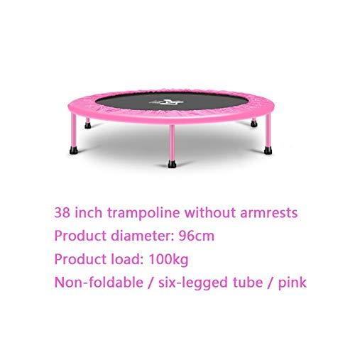 MLMHLMR Trampolín Interior Plegable Aumentar Cama de Rebote pérdida de Peso Gimnasio elástico Familia Adultos niños trampolín Trampolín (Color : Pink)