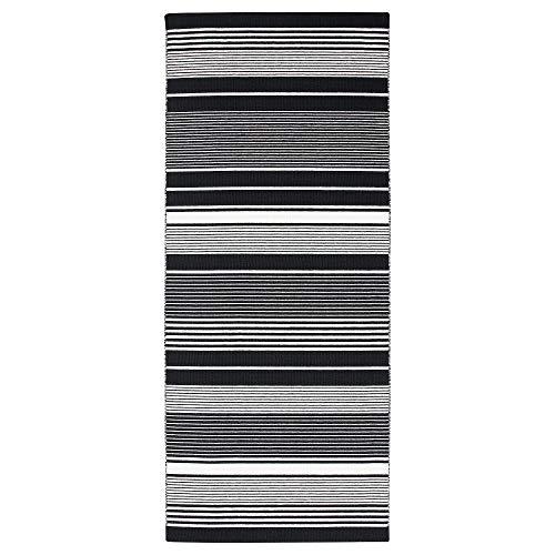 MBI Teppich, Flachgewebt, Schwarz/Weiß/Streifen, Größe zusammengebaut: Länge 200 cm, Breite 80 cm, Dicke 7 mm