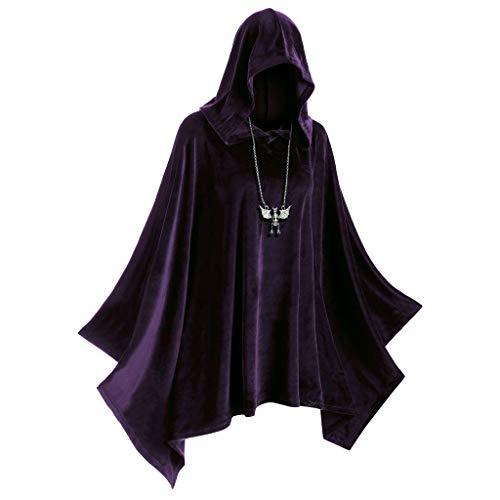 Vampir Kühlen Kostüm Kinder - TIREOW Halloween Requisiten Frau Solide Mantel Vintage Passenden Kapuzen Mantel Hexe Vampir Cosplay Kleidung Kostüm Bluse Mit Kapuze (M, Lila)