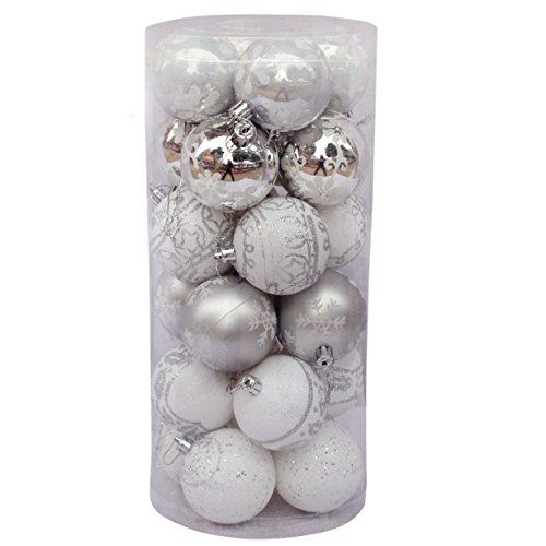 Bola de adorno - Longra ❤️ 24 piezas Xmas bolas brillas elegantes de adorno de decoracion de arbol chucherias de Navidad de color Multicolor (E)