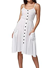 53a62c6cb09 DIKEWANG® Ladies Button Down Swing Mini Dress with Pockets