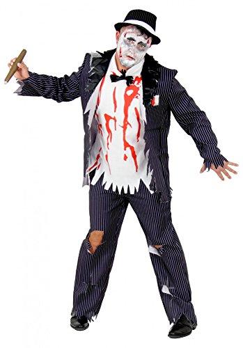 Herren Kostüm Zombie Gangster - Foxxeo Zombie Gangster mit Blut-Flecken Halloween Kostüm für Herren Fasching Karneval 20er Jahre Party Größe XXL
