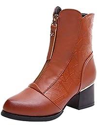 Mujer Botines Casual tacón alto cremallera,Sonnena Zapatos de punta gruesa con puntera Velvet Bare Boot Botas de tacón alto estilo británico femenino Zapatos de algodón