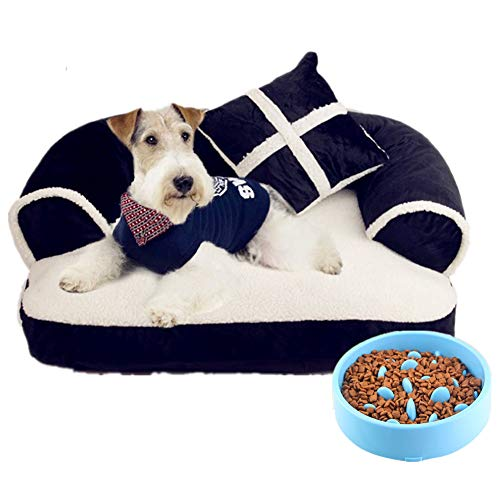 Rhww Cama Rectangular para Mascotas con Almohada De Perro, Cuddler para Gatos Y Perro,Azul,L