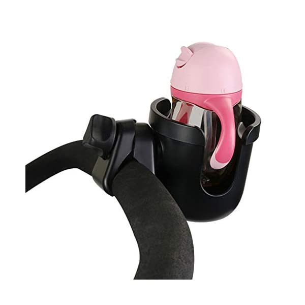 Universal Cup Holder Bottle Holder 360 Degrees Rotation for Baby Stroller, Bicycle, Wheelchair, Walker, Trolleys Perfeclan The cup holder itself nicely holds your travel cup without any fear of falling out Environmental protection plastic material, durable and lightweight, no harm to babies. Easy to install and take apart, will not spend you much time. 8