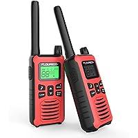 FLOUREON Walkie Talkies, 2PCS Audio bidireccional 16 Canales PMR 446MHZ con Alcance de hasta 5000 Metros/3.1Miles Interfono Portátil-Rojo