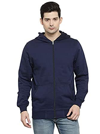 Kalt Men's Full Sleeves Zipper Fleece Hoodie (Navy)