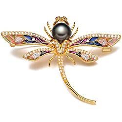 Epinki Joyería Chapado en Platino Broches para Mujer Circonita Libélula Perla Negro Broches