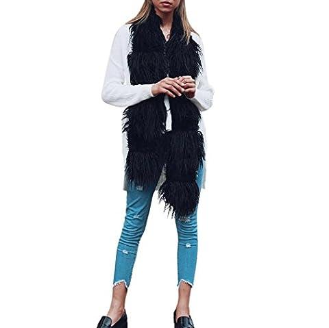 DAYLIN 1PC Women Winter Warm Scarf Collar Ladies Long Shawl Wraps Stitching (180*15cm, Black)