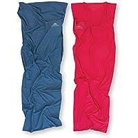 NORDKAMM Saco de dormir 100% algodón, azul, Sábana para saco de dormir, acoplable para 2 personas, para viajar, interior, verano, Cotton Liner, Travel Sheet, Inlay, 80 x 220 cm, ligero