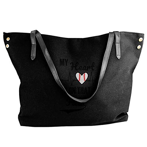 liangxiquguidaojiaotongshe My Heart Is On The Field Womens Tote Bags Canvas Shoulder Handbags Satchel Bag