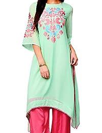 Triumphin Green Long Kurta Georgette For Women Latest Design Latest Design Embroidery Kurtis Daily Wear Kurta...