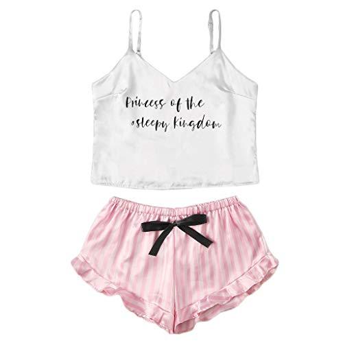 Alwayswin Frauen Fleck Brief Drucken O-Neck Camisole Pyjamas Nachtwäsche Shorts Dessous Set Damen Satin Sleepwear Reizvolles Lace Dessous Set Unterwäsche -