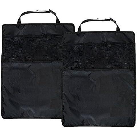 BLUESTAR Kick Mats con organizador, 45* 60cm impermeable bebé asiento de coche trasera protectores alfombrillas, 2unidades), color negro