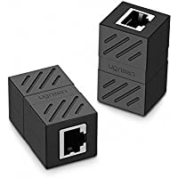 UGREEN Adaptador RJ45 para cable de Red Ethernet Cat6 RJ45 Acoplador gigabit hembra a hembra (2 Pack, Negro)