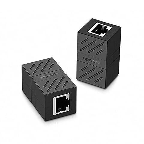 UGREEN Connecteur Ethernet, Lot de 2 Cat 7,6,5 Conencteur Ethernet Réseau RJ45 8P8C Femelle à Femelle (Noir)