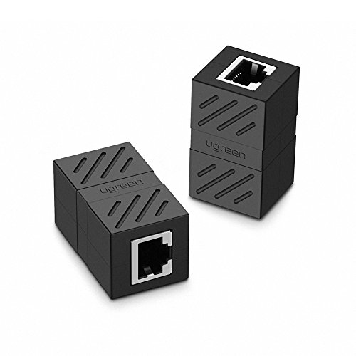 UGREEN Ethernet Kabel Verbinder RJ45 Patchkabel Kupplung Lan Kabel Verbinder Cat 6 Netzwerk Adapter geschirmte Modular Kupplung Netzwerkkoppler, 2 Stücke (Schwarz)