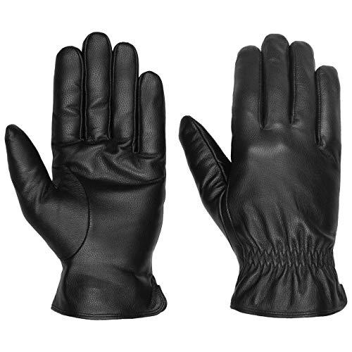 Lipodo Classic Lederhandschuhe Damen/Herren | Fingerhandschuhe aus Leder | Winterhandschuhe mit Thinsulate-Fleecefutter | Handschuhe Herbst/Winter schwarz 10 HS