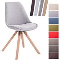 CLP Design Retro-Stuhl Toulouse Square mit Stoffbezug und hochwertigem Sitzpolster I Lehnstuhl mit stabilem Holzgestell I Sitzhöhe 48 cm Grau, Natura