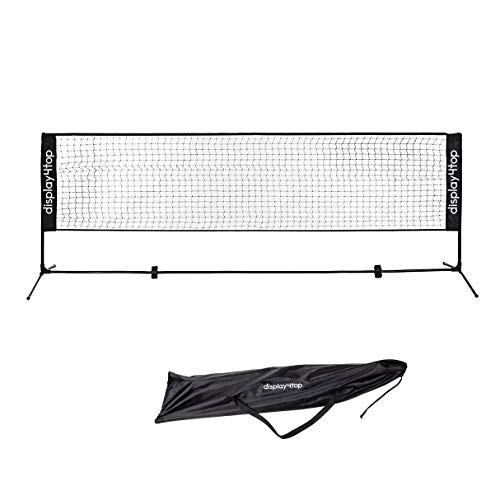 Display4top Tennisnetz 5m Verstellbares, faltbares, tragbares BadmintonNetz für Tennis, Pickleball, Kinder-Volleyball - Einfaches Aufbau-Nylon-Sportnetz mit Stäben