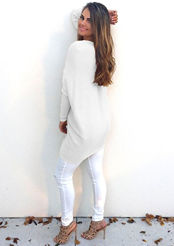 Yidarton Pull Femme Tops Col V Manches Longues Casual Casual Shirt Robe Tunique Oversize Blanc