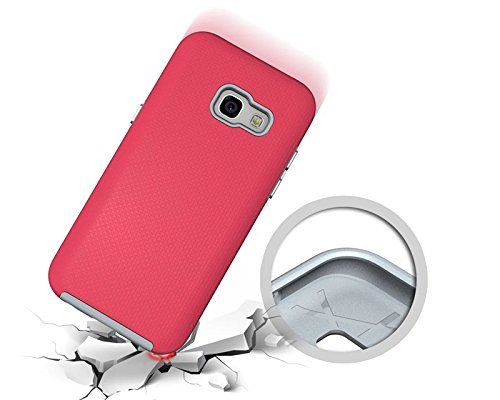 YHUISEN Galaxy A3 2017 Case, 2 In 1 TPU und PC Ultra Slim Anti-Rutsch Anti-Shock Rüstung Kratzer Resistant Schutzhülle für Samsung Galaxy A3 2017 A320 ( Color : Rose ) Rose