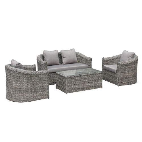 Salon de Jardin en résine tressée Arrondie 4 Places - Valentino Gris - Coussins Beige chiné, canapé fauteuils Table Basse