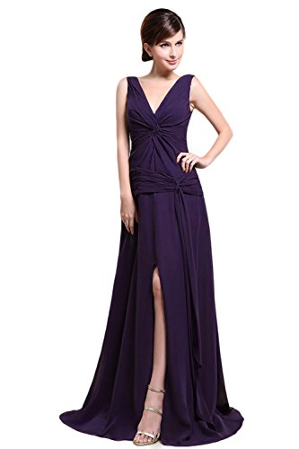 Bridal_Mall - Robe - Trapèze - Sans Manche - Femme Violet