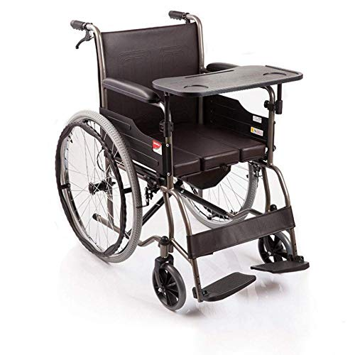 MTX Ltd Klappbarer Rollstuhl Für Ältere Rollstuhlfahrer, Verstellbares Pedal, Leichter Aluminium-Klapprollstuhl Mit Toilette, Abnehmbare, Verstellbare Armlehnen, Deaktiviert,Kaffeefarbe,A