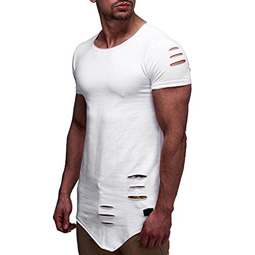 Cloom Mode Männer Bluse Persönlichkeit Loch Männer Casual Schlank Kurzarm Shirt Bluse Männer Tops Einfarbig Loch Top Nicht Spezifikationen Saum Sport T-Shirt Fitness Top Herren Top (M, Weiß) (Crew-weiß-kleidung)