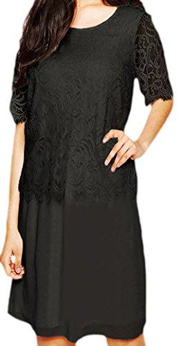 erdbeerloft - Damen Medikleid mit oberem Spitzendetail , 34-40, Viele Farben Schwarz