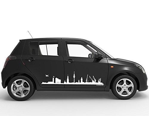universumsum Autoaufkleber Skyline Hamburg mit Elbphilharmonie Königsblau 140 x 32 cm uss050_a-140-063 Car-Tattoos Autotattoo Auto Tuning Car Styling Selbstklebend