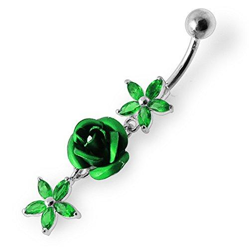 Bijou anneau nombril en argent sterling 925 fleurs pierres fantaisies et pendant Banane 14Gx3/8(1.6x10MM) acier chirurgical 316L et boule 5mm Dark Green