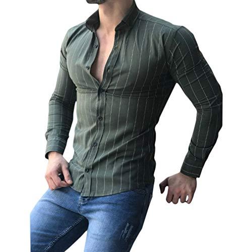 Herren Gestreift Freizeithemd - Mode Regular Fit Lässige Formal Shirt mit Knopf Männer Lange Ärmel Umlegekragen Bluse Große Größen Hemd Tops -
