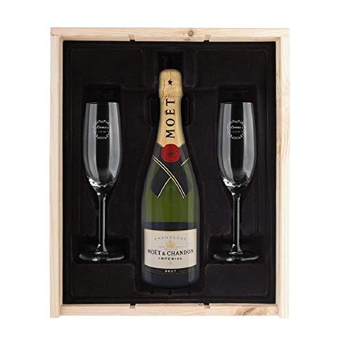 Moët Champagner Geschenk - Moët & Chandon Brut Champagner Geschenk mit edler Holzkiste, Flasche Moët & Chandon 750 ml & 2 personalisierten Sektgläsern.