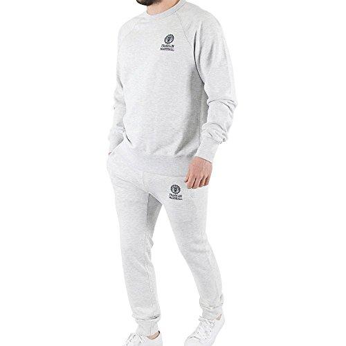Franklin-Marshall-Mens-Chest-Logo-Marled-Sweatshirt-Tracksuit-Grey