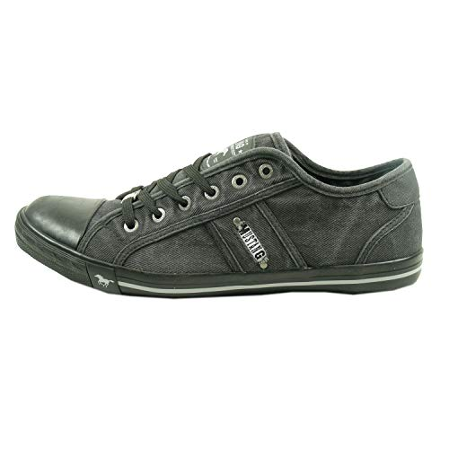 Mustang 4058-305 Herren Schnürschuhe Sneaker Canvas grau rot, Schuhgröße:43;Farbe:Grau