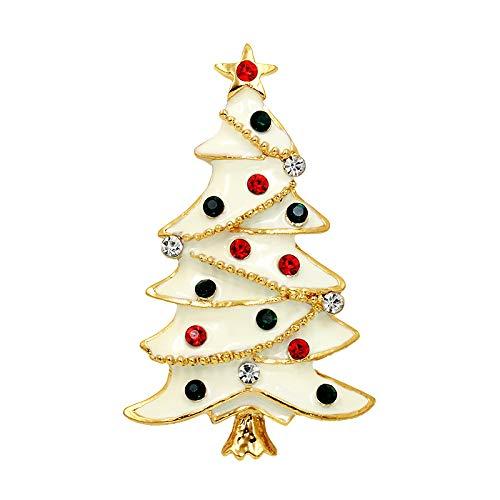 l weiß 珐 珐 Weihnachten Schneebaum Brosche Mädchen Brosche Bekleidungszubehör ()