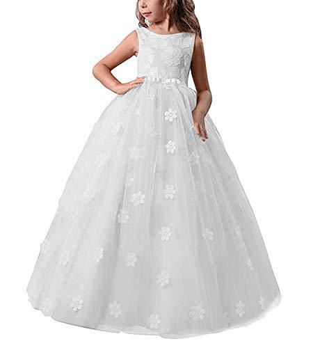 TTYAOVO Chicas Muestran Princesa Vestido de Flores para niños Baile hinchado Bola Vestidos de Tul Tamaño 10-11 años Blanco