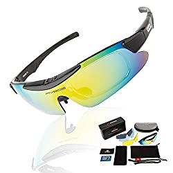 RIVBOS Polarized Sports Sunglasses Mens Womens Glasses with 5 Interchangeable lens for Cycling Running Baseball RB0839 (Black PC)