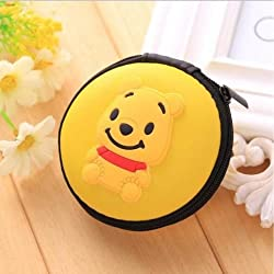 108 Bestbuy Pooh Earphone Pouch Case Coins Pouch,Memory Card Pendrive Pouch Bag Case Pouch (Yellow)