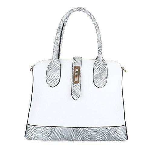 iTal-dEsiGn Damentasche Mittelgroße Schultertasche Tragetasche Handtasche Kunstleder TA-K89 Weiß